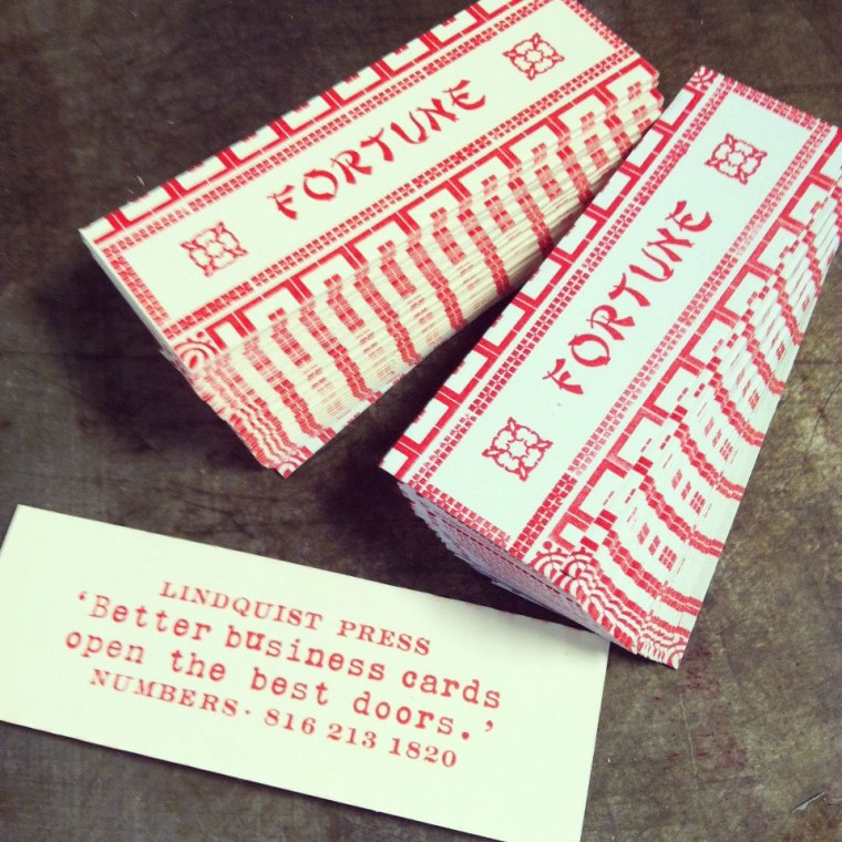 "letterpress cards, 3/4"" x 3"" two sided on 100 cover."