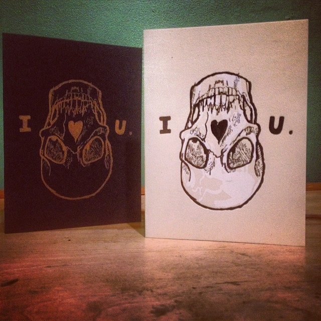 Many of you have likely been enjoying Peregrine's unique designs around town, and here's your opportunity to give a limited edition letterpress card this valentine's season.  Available now for $10 at Birdies or here at the shop, email LindquistPrints@gmail.com to get yours!