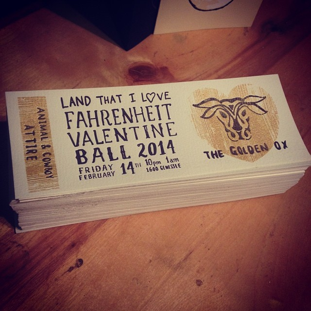 Letterpress and silkscreen printed, these tickets for the Fahrenheit Valentine Ball are on sale now at Birdies on 18th st., hope you can make it as these parties have always been a fun way to celebrate the holiday!