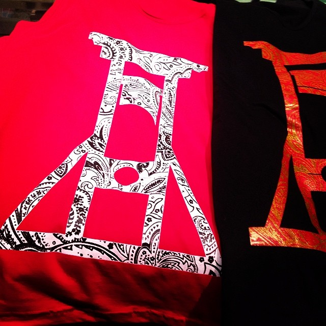 Two color silkscreen tank tops here, with more designs on the way.