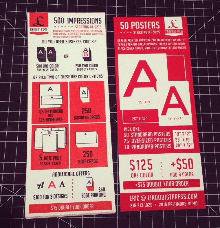Price Chart  (front and back on white)
