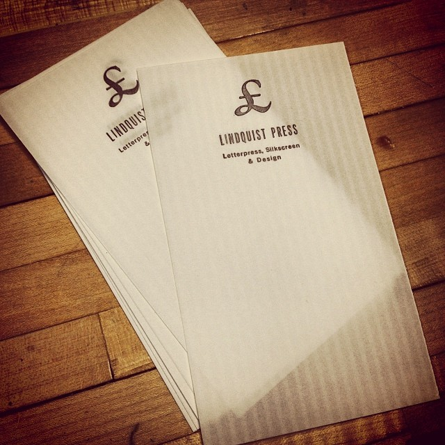 Loose leaf letterpress note sheets, onion skin opacity with vertical accents.